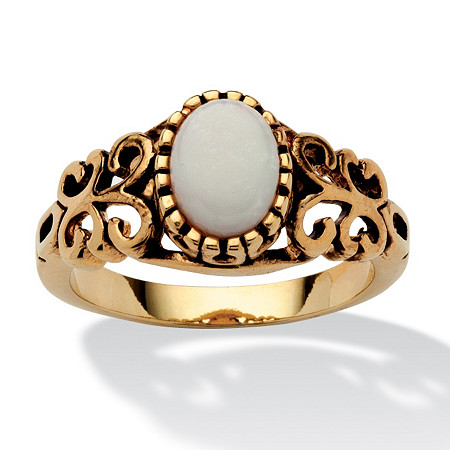 Oval-Cut Opal Scroll Ring in Antiqued 14k Gold-Plated at PalmBeach Jewelry