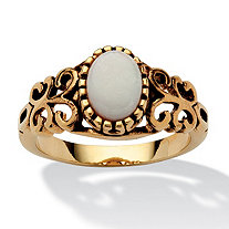 Oval-Cut Opal Scroll Ring in Antiqued 14k Gold-Plated