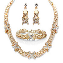 "Round Crystal Snake-Link 3-Piece Choker Necklace, Drop Earring and Bracelet Set in Gold Tone 16""-19"""
