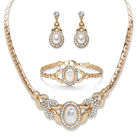 """Oval-Cut Crystal and Simulated Pearl Gold Tone Necklace, Drop Earrings and Bracelet Set 16""""-19"""" at PalmBeach Jewelry"""