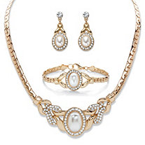 "Oval-Cut Crystal and Simulated Pearl Gold Tone Necklace, Drop Earrings and Bracelet Set 16""-19"""