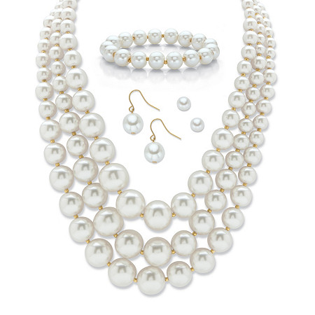 """Graduated Simulated Pearl Gold Tone 3-Piece Necklace, Bracelet and Earring Set with FREE BONUS Drop Earrings 16""""-19"""" at PalmBeach Jewelry"""