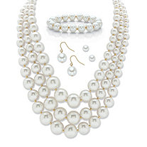 "Graduated Simulated Pearl Gold Tone 3-Piece Necklace, Bracelet and Earring Set with FREE BONUS Drop Earrings 16""-19"""