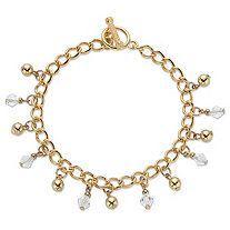 Round Crystal Beaded Toggle Charm Bracelet in Gold Tone 7.5
