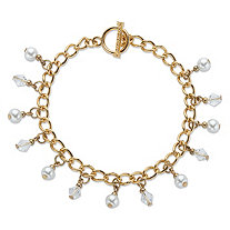 Round Genuine Cultured Freshwater Pearl and Crystal Rolo-Link Toggle Charm Bracelet in Gold Tone 7.5