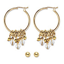 Crystal and Ball Stud 2-Pair Ball Stud and Charm Hoop Earring Set in Gold Tone 1 1/8