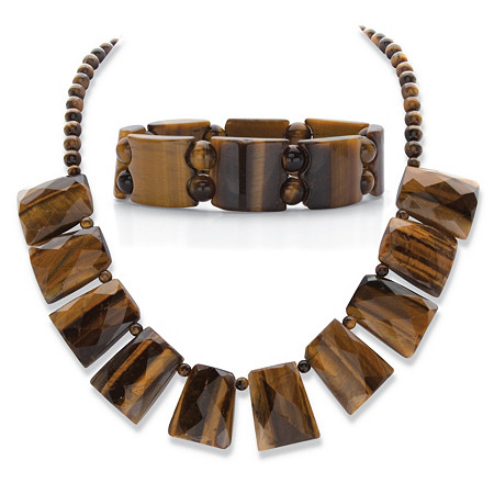 "Genuine Brown Tiger's-Eye 2-Piece Rectangle Fringe Bib Necklace and Stretch Bracelet Set in Silvertone 18"" at PalmBeach Jewelry"
