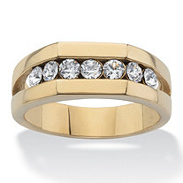 Men's Round Crystal Beveled Wedding Band Ring in Gold Ion-Plated Stainless Steel