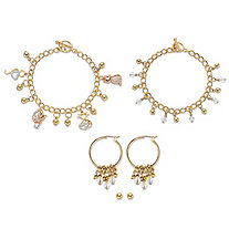 SETA JEWELRY Crystal Cat Charm Bracelet Goldtone BONUS: Buy the Bracelet, Get the 3-Pc. Crystal Bracelet, Stud and Hoop Earring Set FREE! 7.5
