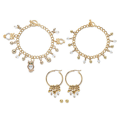 "Crystal Owl Charm Bracelet Goldtone BONUS: Buy the Bracelet, Get the 3-Pc. Crystal Bracelet, Stud and Hoop Earring Set FREE! 7.5"" at PalmBeach Jewelry"