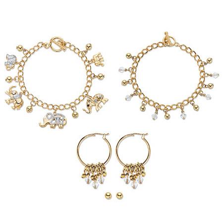 "Crystal Elephant Charm Bracelet Goldtone BONUS: Buy the Bracelet, Get the 3-Pc. Crystal Bracelet, Stud and Hoop Earring Set FREE! 7.5"" at PalmBeach Jewelry"