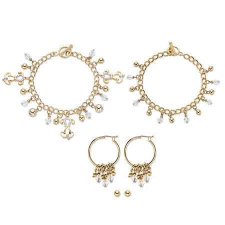 "Crystal Dog Charm Bracelet Goldtone BONUS: Buy the Bracelet, Get the 3-Pc. Crystal Bracelet, Stud and Hoop Earring Set FREE! 7.5"" at PalmBeach Jewelry"