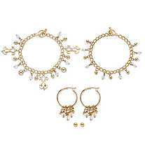 SETA JEWELRY Crystal Dog Charm Bracelet Goldtone BONUS: Buy the Bracelet, Get the 3-Pc. Crystal Bracelet, Stud and Hoop Earring Set FREE! 7.5