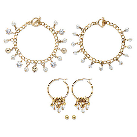 """Crystal and Simulated Pearl Bracelet Goldtone BONUS: Buy the Bracelet, Get the 3-Pc. Crystal Bracelet, Stud and Hoop Earring Set FREE! 7.5"""" at PalmBeach Jewelry"""