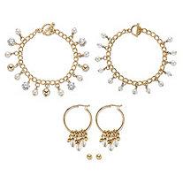 "Round Crystal Gold Tone 3-Piece Earring and Bracelet Set with FREE BONUS Crystal Bracelet 7.5"""