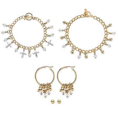 "Crystal Heart Charm Bracelet Goldtone BONUS: Buy the Bracelet, Get the 3-Pc. Crystal Bracelet, Stud and Hoop Earring Set FREE! 7.5"" at PalmBeach Jewelry"