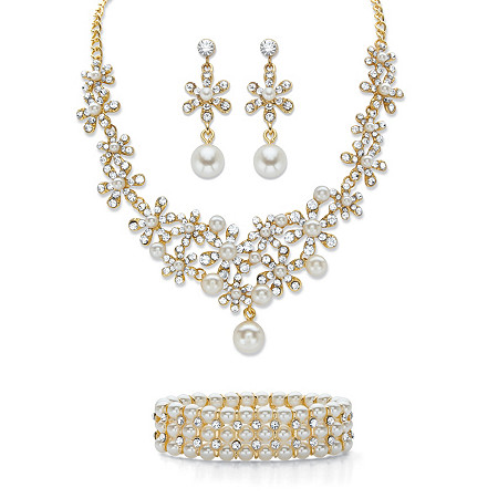 "Round Crystal and Simulated Pearl 3-Piece Floral Cluster Earring, Choker Necklace and Stretch Bracelet Set in Gold Tone 14""-18"" at PalmBeach Jewelry"