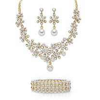 "Round Crystal and Simulated Pearl 3-Piece Floral Cluster Earring, Choker Necklace and Stretch Bracelet Set in Gold Tone 14""-18"""