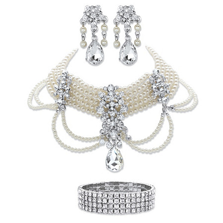 """Crystal and Simulated Pearl Silvertone 3-Piece Choker Necklace, Drop Earrings and Stretch Bracelet Set 14""""-18"""" at PalmBeach Jewelry"""