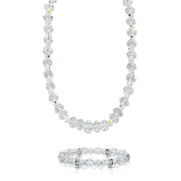 Aurora Borealis Crystal 2-Piece Graduated Necklace And Stretch Bracelet Set