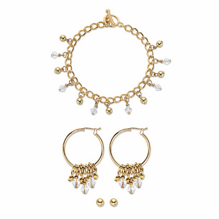 """Round Crystal 3-Piece Ball Stud, Hoop Earring and Charm Bracelet Set in Gold Tone 7.5"""" at PalmBeach Jewelry"""