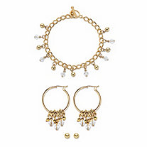 """Round Crystal 3-Piece Ball Stud, Hoop Earring and Charm Bracelet Set in Gold Tone 7.5"""""""