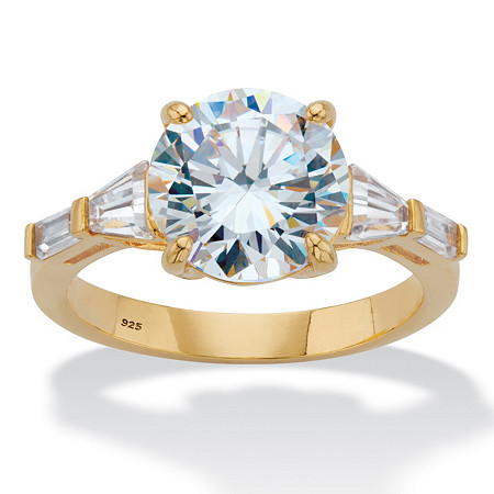 Round and Baguette-Cut Cubic Zirconia Engagement Ring (4.78 TCW) in 14k Gold over Sterling Silver at PalmBeach Jewelry