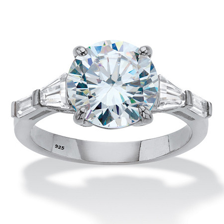Round and Baguette-Cut Cubic Zirconia Engagement Ring 4.78 TCW in Platinum over Sterling Silver at PalmBeach Jewelry