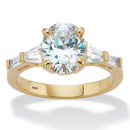 Oval and Baguette-Cut Cubic Zirconia Engagement Ring 3.32 TCW in 14k Gold over Sterling Silver at PalmBeach Jewelry