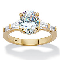 Oval and Baguette-Cut Cubic Zirconia Engagement Ring 3.32 TCW in 14k Gold over Sterling Silver
