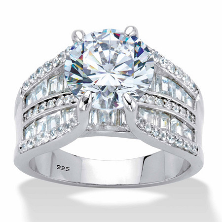 Round and Baguette-Cut Cubic Zirconia Bridge Engagement Ring 6.75 TCW in Platinum over Sterling Silver at PalmBeach Jewelry