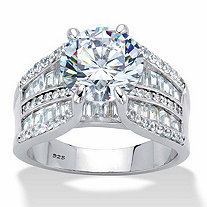Round and Baguette-Cut Cubic Zirconia Bridge Engagement Ring 6.75 TCW in Platinum over Sterling Silver