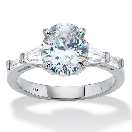 3.42 TCW Oval and Baguette-Cut Cubic Zirconia Engagement Ring 3.42 TCW in Platinum over Sterling Silver at PalmBeach Jewelry