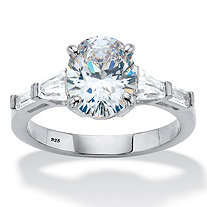 3.42 TCW Oval and Baguette-Cut Cubic Zirconia Engagement Ring 3.42 TCW in Platinum over Sterling Silver