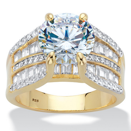 Round and Baguette Cubic Zirconia Multi-Row Bridge Engagement Bridal Ring 6.75 TCW in 14k Gold over Sterling Silver at PalmBeach Jewelry