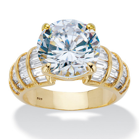 Round and Baguette Cubic Zirconia Step Top Bridal Engagement Ring 8.12 TCW in 14k Gold over Sterling Silver at PalmBeach Jewelry