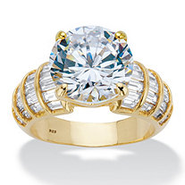 Round and Baguette Cubic Zirconia Step Top Bridal Engagement Ring 8.12 TCW in 14k Gold over Sterling Silver