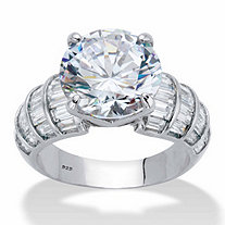 Round and Baguette Cubic Zirconia Step Top Bridal Engagement Ring 8.12 TCW in Platinum over Sterling Silver