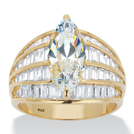 Marquise-Cut and Baguette Cubic Zirconia Multi-Row Dome Engagement Ring 7.75 TCW in 14k Gold over Sterling Silver at PalmBeach Jewelry