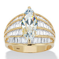Marquise-Cut and Baguette Cubic Zirconia Multi-Row Dome Engagement Ring 7.41 TCW in 14k Gold over Sterling Silver