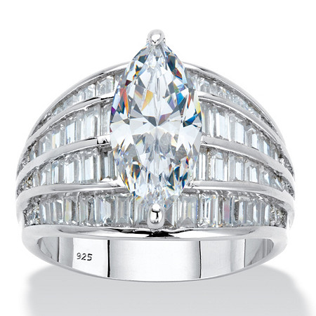 Marquise-Cut and Baguette Cubic Zirconia Multi-Row Dome Engagement Ring 7.59 TCW in Platinum over Sterling Silver at PalmBeach Jewelry