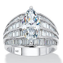 Marquise-Cut and Baguette Cubic Zirconia Multi-Row Dome Engagement Ring 7.59 TCW in Platinum over Sterling Silver