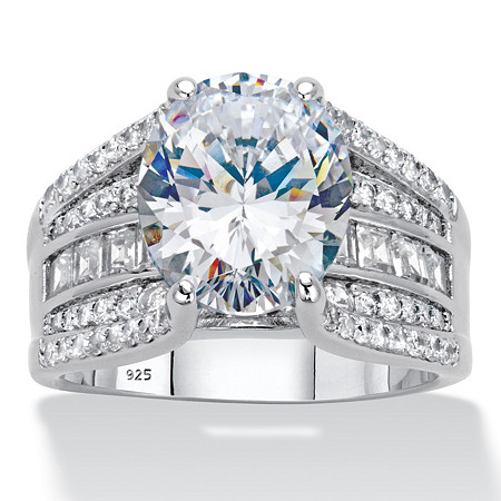 6.66 TCW Round Cubic Zirconia Bridge Engagement Ring 6.66 TCW in Platinum over Sterling Silver at PalmBeach Jewelry