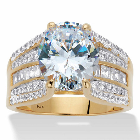 Oval and Baguette Cubic Zirconia Multi-Row Bridal Engagement Ring 6.66 TCW in 14k Gold over Sterling Silver at PalmBeach Jewelry