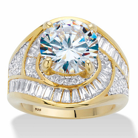 Round Cubic Zirconia Halo Bypass Engagement Ring 8.81 TCW in 14k Gold over Sterling Silver at PalmBeach Jewelry