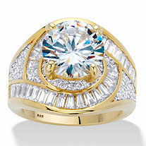 Round Cubic Zirconia Halo Bypass Engagement Ring 8.81 TCW in 14k Gold over Sterling Silver