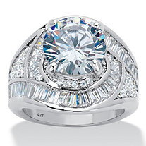 Round Cubic Zirconia Halo Bypass Engagement Ring 8.81 TCW in Platinum over Sterling Silver