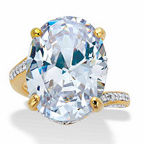 Oval-Cut Cubic Zirconia Bypass Engagement Ring 19.77 TCW in 14k Gold over Sterling Silver