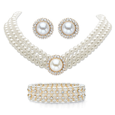 """Simulated Pearl and Crystal Triple-Strand Halo Choker Necklace, Stretch Bracelet and Stud Earrings in Gold Tone 13""""-16"""" at PalmBeach Jewelry"""