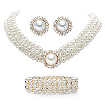 "Simulated Pearl and Crystal Triple-Strand Halo Choker Necklace, Stretch Bracelet and Stud Earrings in Gold Tone 13""-16"""